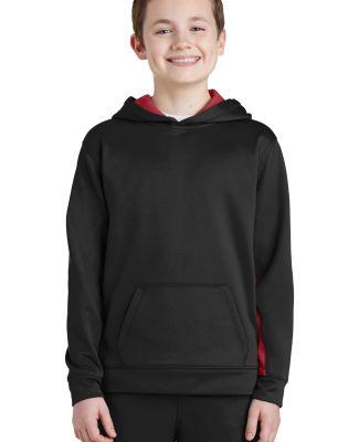Sport Tek YST235 Sport-Tek Youth Sport-Wick Fleece Colorblock Hooded Pullover