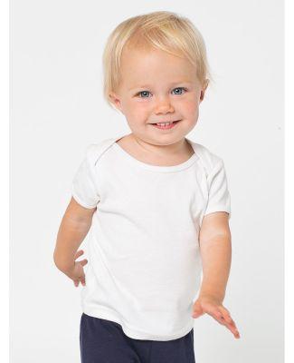 4000W American Apparel Infant Baby Rib Short Sleeve Lap T White