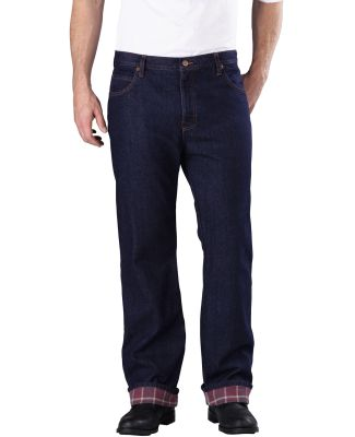Dickies Workwear DD217 Men's Relaxed Straight-Fit Flannel-Lined Denim Jean Pant RNSD IND BLUE _30