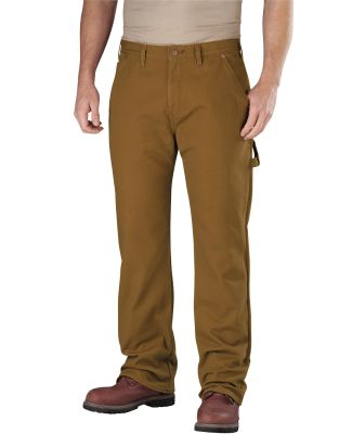 Dickies Workwear DU217 Men's Relaxed Straight-Fit Flannel-Lined Carpenter Duck Jean Pant RNS BRWN DCK _30