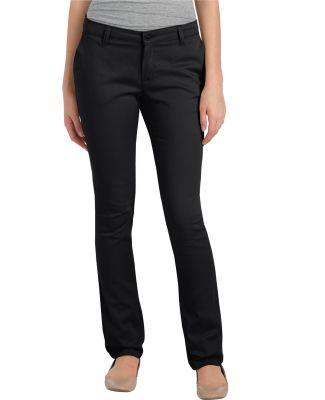 Dickies Workwear KP7718 Ladies' Juniors Schoolwear Classic Fit Straight-Leg Twill Stretch Pant BLACK _00