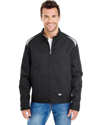 Dickies Workwear LJ605 Unisex Industrial Insulated Color Block Shop Jacket BLACK/ SILVER