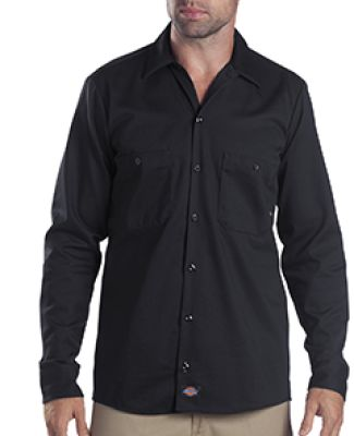 Dickies Workwear LL307T 6 oz. Tall Industrial Long-Sleeve Cotton Work Shirt BLACK