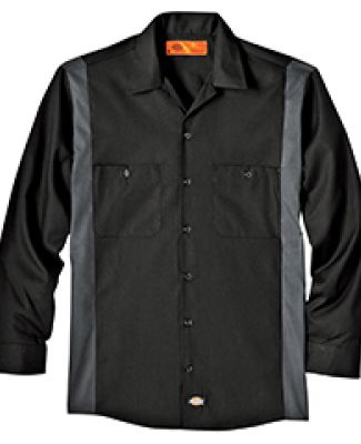 Dickies Workwear LL524T 4.5 oz. Industrial Long-Sleeve Color Block Shirt BLACK/ CHARCOAL