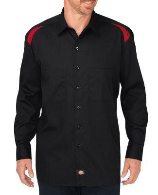 Dickies Workwear LL605 Men's Long-Sleeve Performance Team Shirt BLACK/ ENG RED