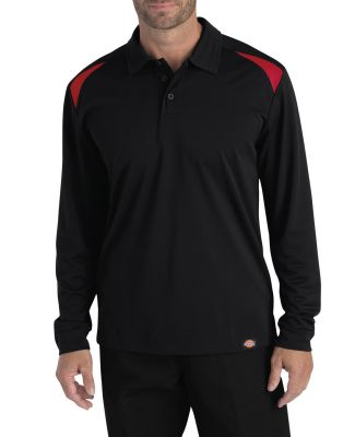 Dickies Workwear LL606T Men's Tall Long-Sleeve Performance Polo BLACK/ ENG RED