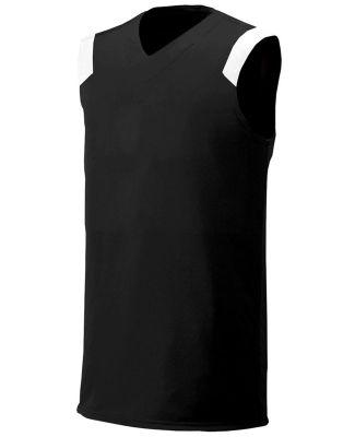 N2340 A4 Adult Moisture Management V-neck Muscle BLACK/ WHITE