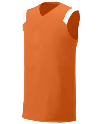 N2340 A4 Adult Moisture Management V-neck Muscle ORANGE/ WHITE