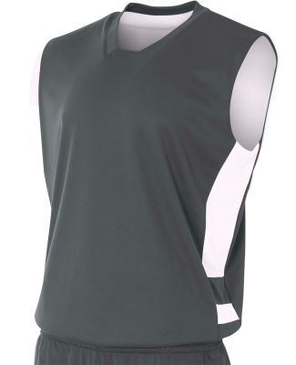 N2349 A4 Drop Ship Adult Reversible Speedway Muscle Shirt GRAPHITE/ WHITE