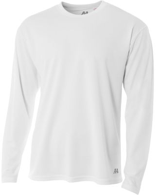 N3253 A4 Drop Ship Men's Long Sleeve Crew Birds Eye Mesh T-Shirt WHITE