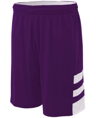 N5334 A4 Drop Ship Adult 10 Inseam Reversible Speedway Shorts PURPLE/ WHITE