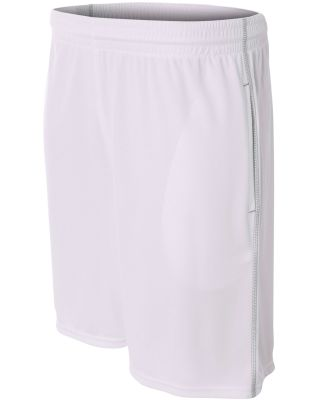 N5340 A4 Drop Ship Men's Flat Back Mesh Shorts w/ Contrast Stitching WHITE