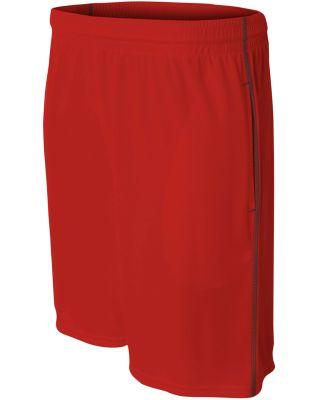 N5340 A4 Drop Ship Men's Flat Back Mesh Shorts w/ Contrast Stitching SCARLET