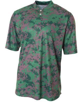 NB3263 A4 Drop Ship Youth Camo 2-Button Henley Shirt FOREST