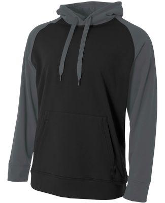 NB4234 A4 Drop Ship Youth Color Block Tech Fleece Hoodie BLACK/ GRAPHITE