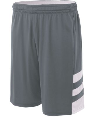 NB5334 A4 Drop Ship Youth 8 Inseam Reversible Speedway Shorts GRAPHITE/ WHITE