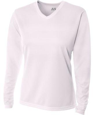 NW3255 A4 Drop Ship Ladies' Long Sleeve V-Neck Birds Eye Mesh T-Shirt WHITE