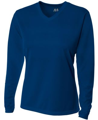 NW3255 A4 Drop Ship Ladies' Long Sleeve V-Neck Birds Eye Mesh T-Shirt NAVY