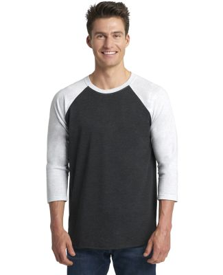 Next Level 6051 Unisex Tri-Blend 3/4 Sleeve Raglan HTH WHT/ VIN BLK
