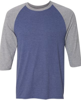 A6755 Anvil Adult Tri-Blend 3/4-Sleeve Raglan Tee  Hth Blue/Hth Grey