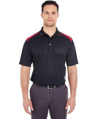 8215 UltraClub® Adult Cool & Dry 2-Tone Mesh Piqu BLACK/ RED