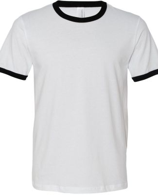 BELLA+CANVAS 3055 Heather Ringer Tee WHITE/ BLACK