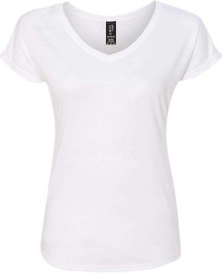 6750VL Anvil - Ladies' Triblend V-Neck T-Shirt  White