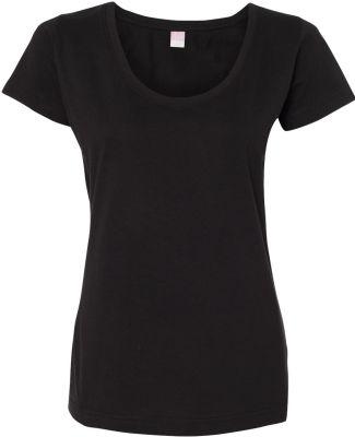 3504 LA T Ladies' Fine Jersey Deep Scoop Neck Long BLACK