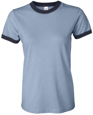 BELLA 6050 Womens Vintage Heather Ringer Tee HTHR BLUE/ NAVY
