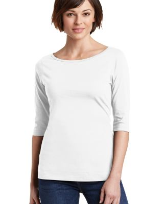 DM107L District Made® Ladies Perfect Weight® 3/4 Bright White