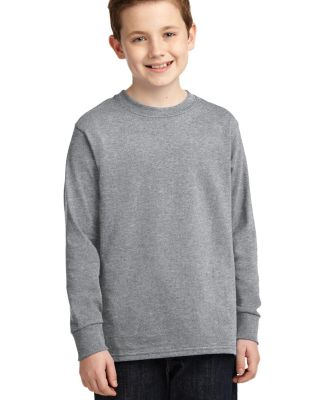 PC54YLS Port and Company Youth Long Sleeve Cotton  Athl Heather