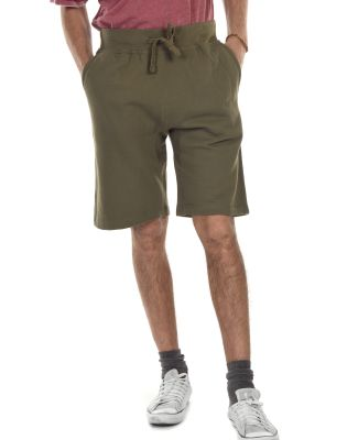 M7640 Cotton Heritage Fleece Rib Jogger Shorts Military Green