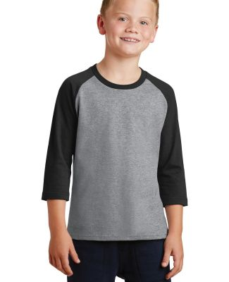 PC55YRS Port & Company® Youth 50/50 3/4-Sleeve Ra AH/Jet Black