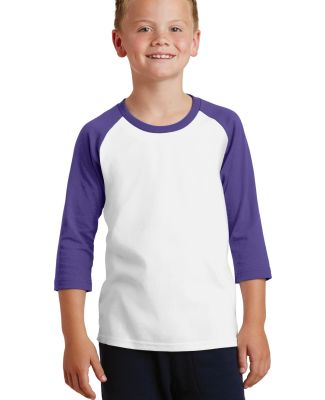 PC55YRS Port & Company® Youth 50/50 3/4-Sleeve Ra Wht/Purple