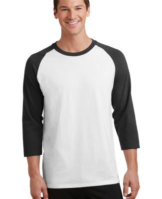 PC55RS Port & Company® 50/50 3/4-Sleeve Raglan Wht/Jet Black