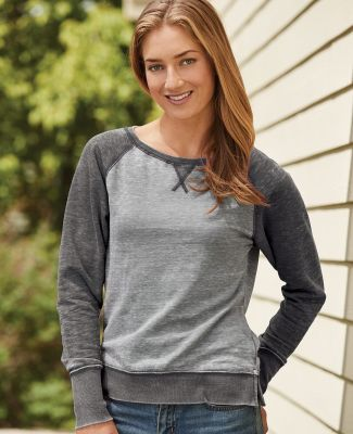 8927 J. America Women's Zen Fleece Raglan Sleeve Crewneck Sweatshirt Catalog