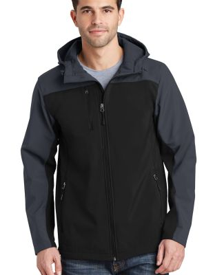 J335 Port Authority Hooded Core Soft Shell Jacket Black/Batl Gry