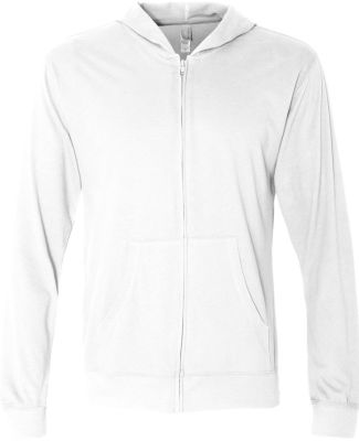 Next Level 6491 Sueded Lightweight Zip Up Hoodie WHITE