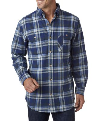 BP7001 Backpacker Men's Yarn-Dyed Flannel Shirt BLUE/ GREEN