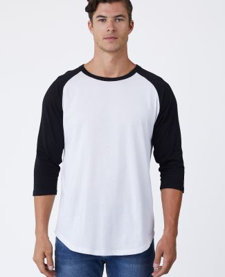 MC1190 Cotton Heritage Unisex Baseball Tee White/Black