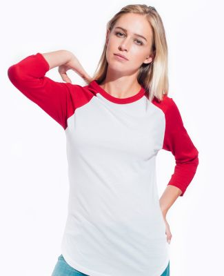 MC1190 Cotton Heritage Unisex Baseball Tee White/Red