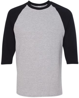 5700 Gildan Heavy Cotton Three-Quarter Raglan T-Sh SPORT GREY/ BLK