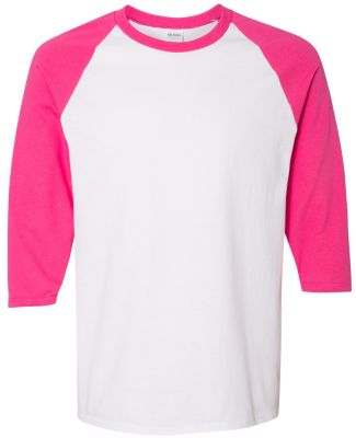 5700 Gildan Heavy Cotton Three-Quarter Raglan T-Sh WHITE/ HELICONIA