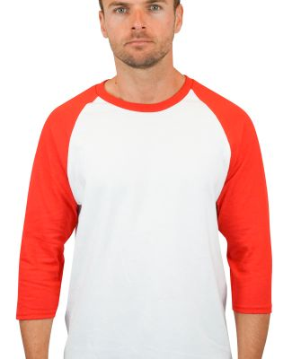 5700 Gildan Heavy Cotton Three-Quarter Raglan T-Sh WHITE/ RED