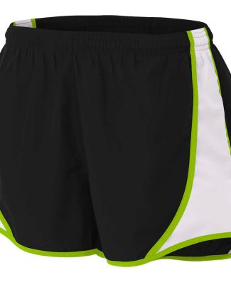 NW5341 A4 Drop Ship Ladies Speed Shorts Black/Lime