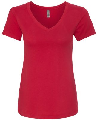 Next Level 6480 Women's Sueded Short Sleeve V RED