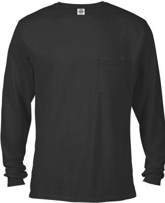 64732L Delta Apparel Adult Long Sleeve Pocket Tee  Black