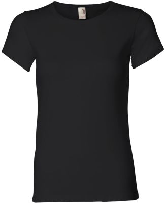 1441 Anvil Ladies' 1x1 Baby Rib Scoop T-Shirt Black
