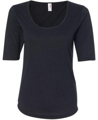 6756L Anvil Ladies' Triblend Deep Scoop Half-Sleev Black