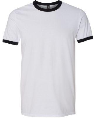 988AN Anvil Lightweight Ringer T-Shirt White/Black
